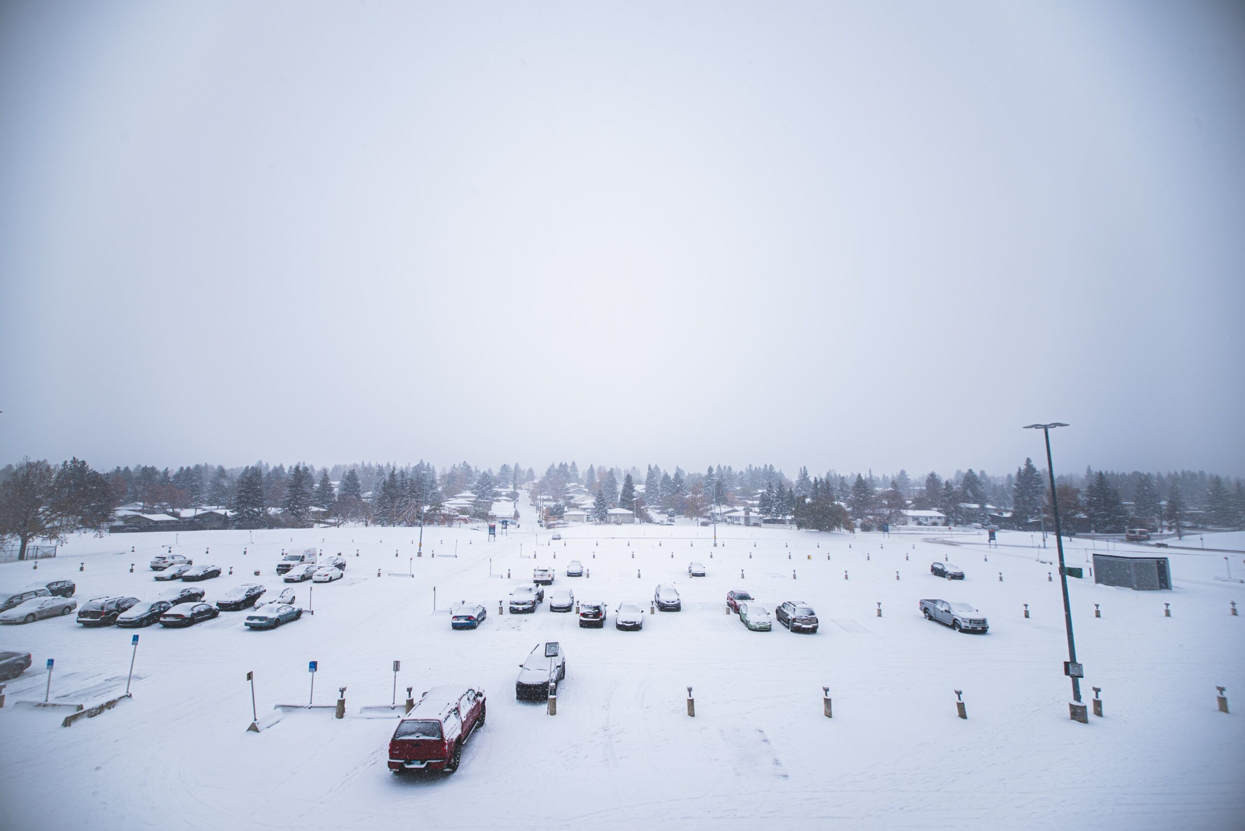 parking lot covered in snow